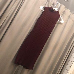 Maroon midi high neck sweater dress